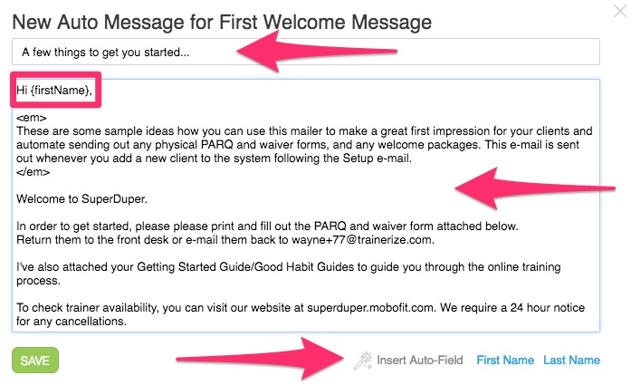 How do I customize my auto-messages and events? – Trainerize